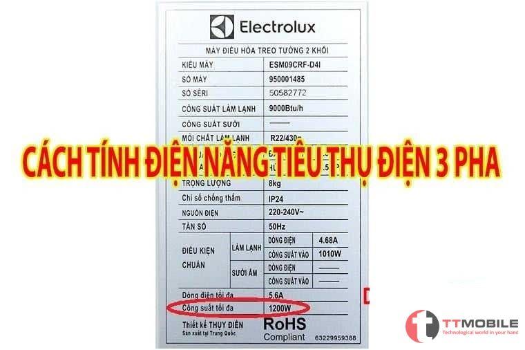 cách tính điện năng tiêu thụ 3 pha