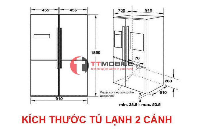 Kích thước tủ lạnh 2 cánh Samsung, Toshiba, Hitachi, LG ...