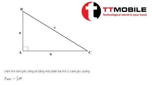 Công thức diện tích tam giác vuông