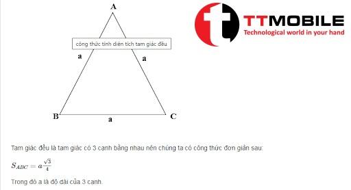 Áp dụng công thức tính tam giác đều